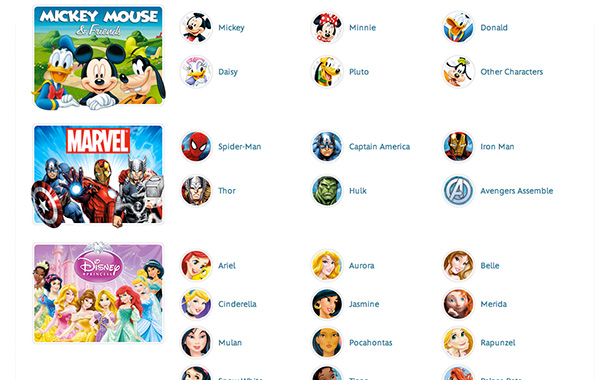 Disney Character Index