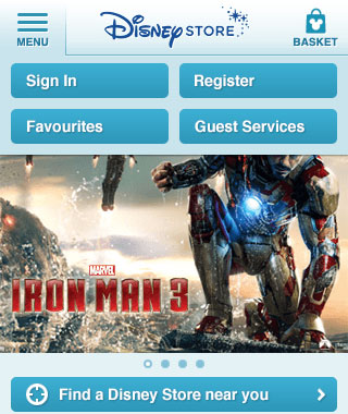 Disney Store Mobile - Main menu